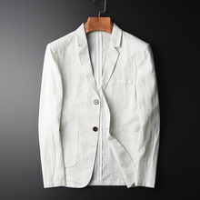 MINGLU Blazer Man New 100% Linen Suit Jacket Spring Autumn Casual Male Single Breasted High Quality Size M-L-XL-2XL-3XL-4XL