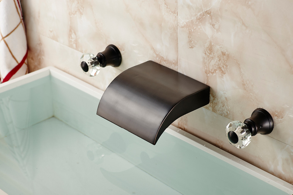 ∞Bathroom Oil Rubbed Bronze Basin Faucet Dual Handles Wall Mounted ...