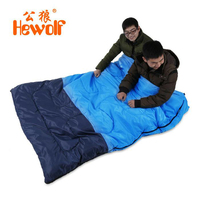 Hewolf Outdoor Double CoupleSleeping Bag Envelope Four Seasons Available Camping Hiking Portable Sleeping Bag With Pillow