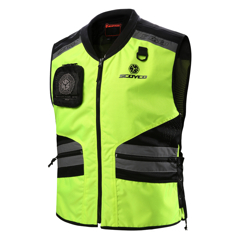 Roadway Safety Clothing Scoyco JK32 Reflective Protective Vest Kids Motorcycle Chaleco Ciclismo Reflectante Ropa Moto Team Green