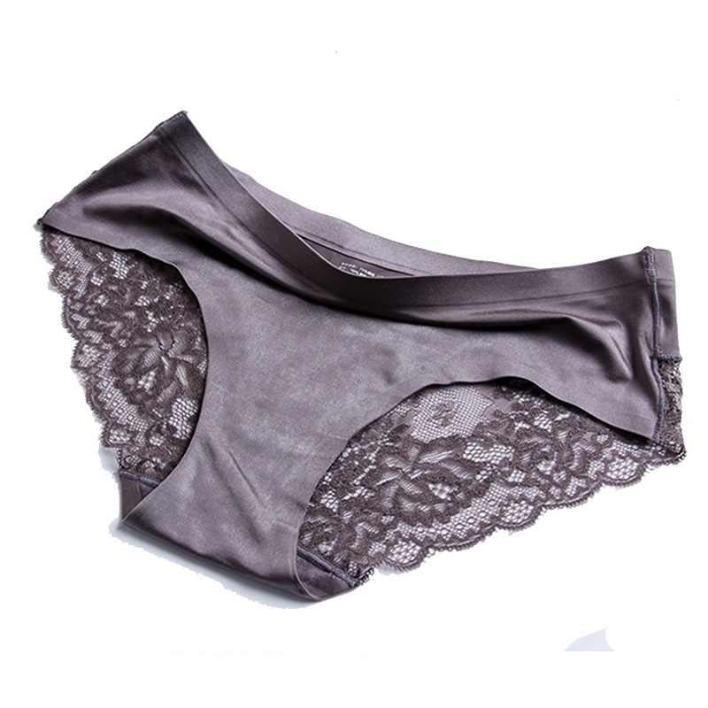 b93a7bb3c9da ... Women's Sexy Lace Panties Seamless Underwear Briefs Nylon Silk for  Girls Ladies Bikini Cotton Crotch Transparent ...