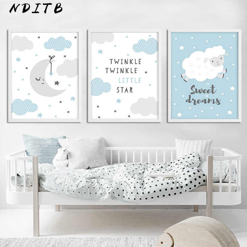 Moon Clouds Cartoon Canvas Poster Nursery Print Blue Wall Art Painting Nordic Kids Decoration Picture Baby Boy Bedroom Decor