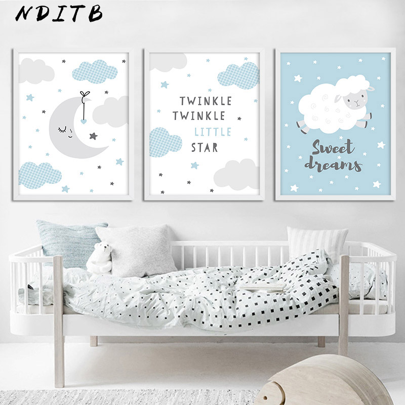 Moon Clouds Cartoon Canvas Poster