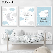 Moon Clouds Cartoon Canvas Poster Nursery Print Blue Wall Art Painting Nordic Kids Decoration Picture Baby Boy Bedroom Decor(China)