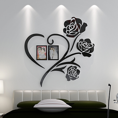 US $11.24 45% OFF|Peony flowers Acrylic 3D wall stickers Bedroom Photo  frame DIY art wall decor living room Wedding room decoration-in Wall  Stickers ...