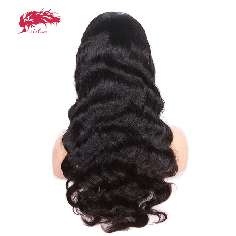 Ali Reina del pelo Cuerpo onda brasileña virginal del pelo Color Natural 10 ~ 30 130% densidad Encaje Cabello humano Pelucas