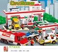 727 unids sluban 2900 serie de la ciudad centro de servicio automotriz modelo educativo y juguetes y pasatiempos para niños compatibles con 1