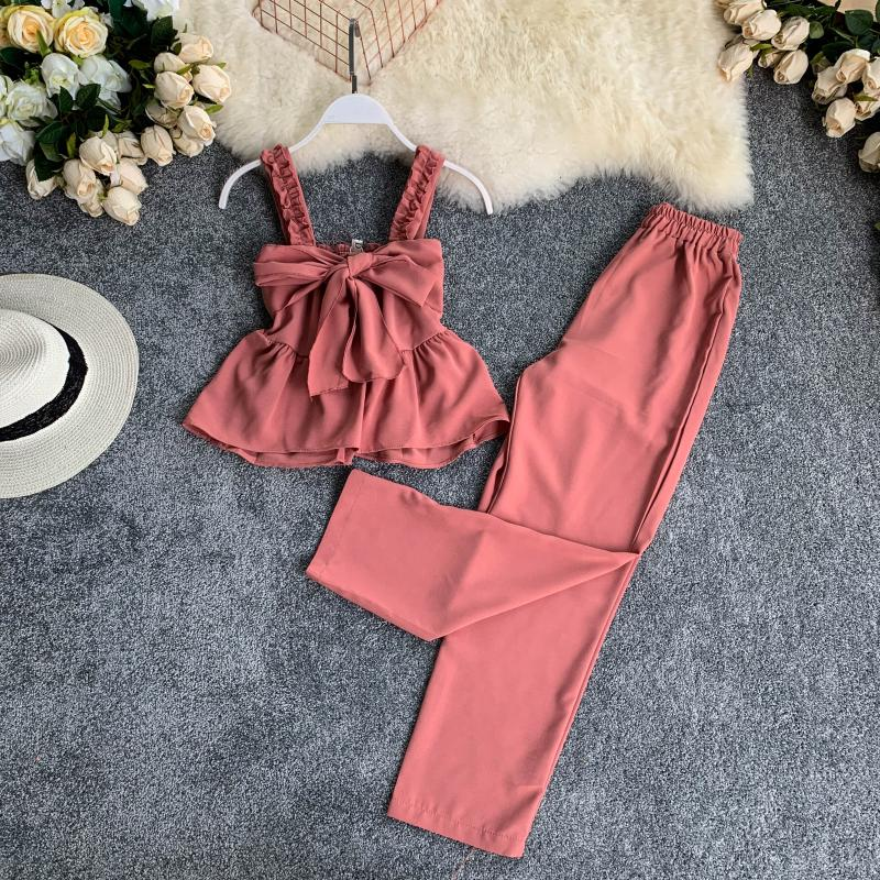 Women Sets Clothes Summer Strap Crop Tops Loose Wide Leg Pants Suits Woman Two Piece Set