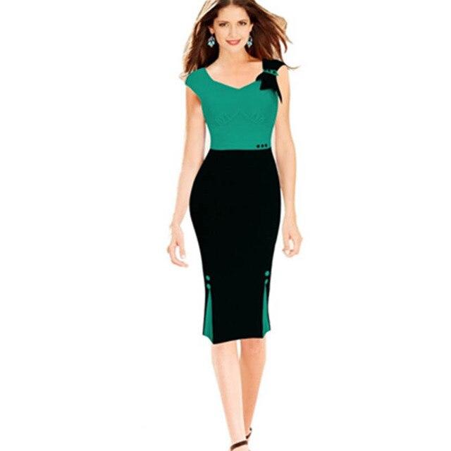 Latest Ladies Women Sexy Fashion Sleeveless Patchwork Midi Bodycon ...