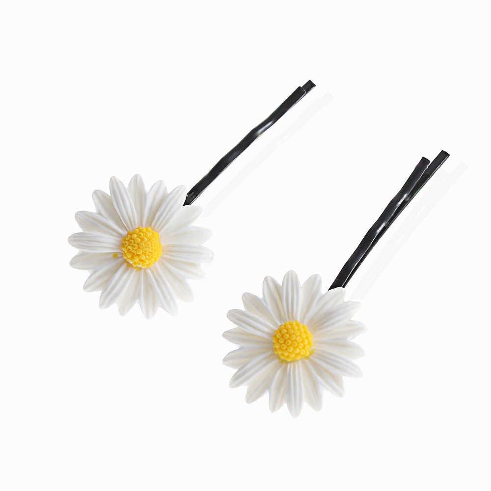 2 Pcs น่ารัก Daisy ดอกไม้คลิปผมแฟชั่นผมแหวนเชือกแถบ HairPins หางม้าผู้หญิงเด็กผู้ถือผมอุปกรณ์เสริม
