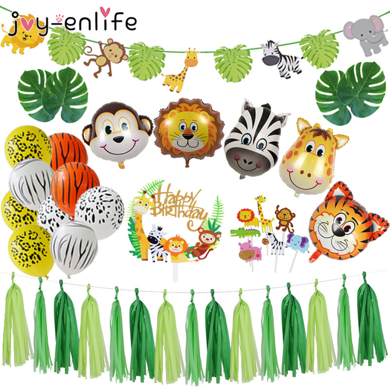 Jungle Party Animal Foil Balloons Zoo Animal Jungle Theme Birthday Party Decoration Kids Birthday Balloons Safari Party Decor