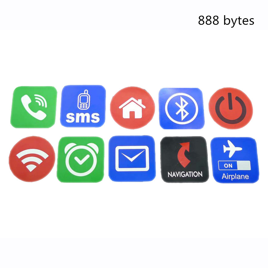 High Quality 888 byte NFC Tag 10 pcs Circular shape rfid nfc tags sticker adesivo for Samsung S6 for iPhone HTC LG #133