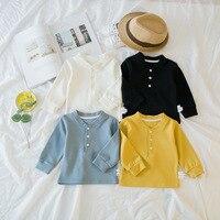 Meninos meninas primavera outono t camisas dos miúdos casuais sólida com decote em v camisa de manga longa azul preto branco amarelo da criança algodão ocasional topos