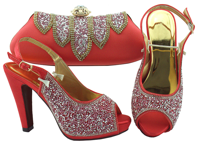 Coral African Matching Shoes and Bags Italian In Women Italian Shoes and Bags To Match Shoes with Bag Set Decorated with Stones