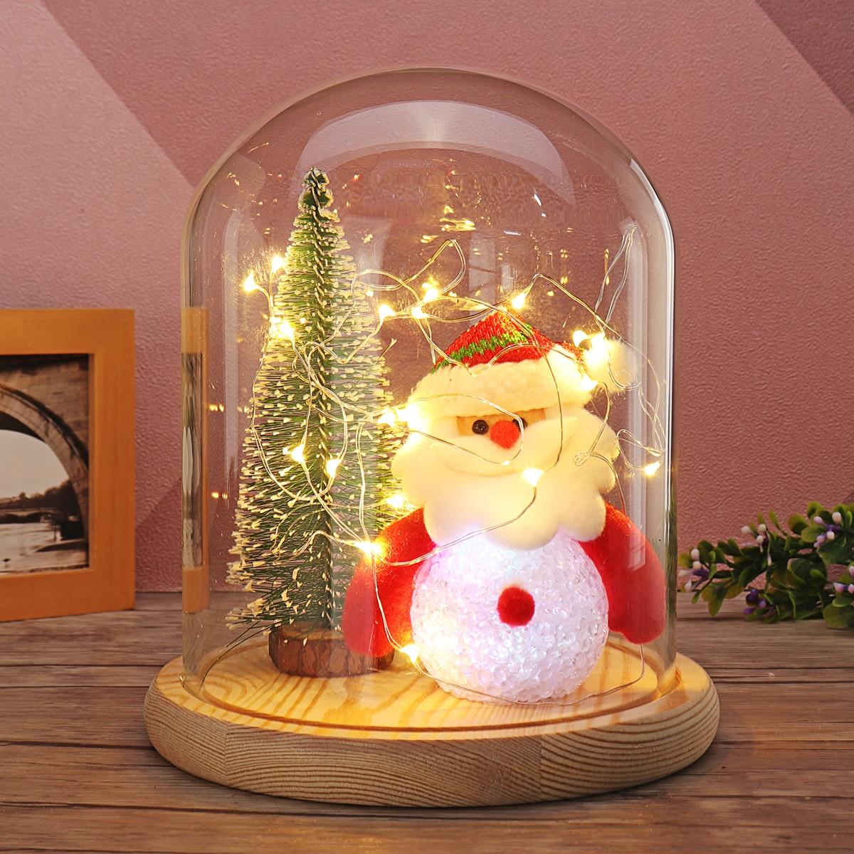 все цены на Mini Fashion Christmas Tree Lovely Santaclaus Glass Dome Bell Jar Christmas Glass Dome Wood Base Light Valentine Gift Home Decor онлайн