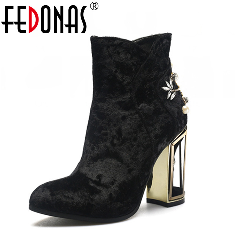 FEDONAS Fashion Crystal Women Ankle Winter Warm Boots Wedding Party Shoes Woman Female Velvet Thick High Heeled Elegant Boots velvet thick keep warm winter hat for women rabbit fur knitted beanies ladies female fashion skullies elegant hats for women