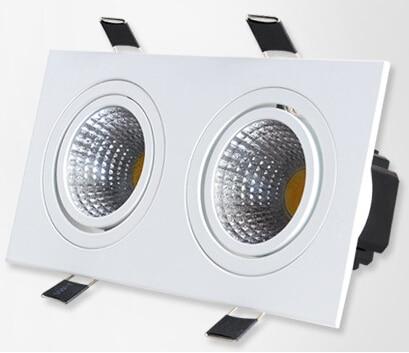 Doprava zdarma 20 W čtvercový dvojitý cob Stmívatelné led down lampy Teplá bílá / bílá / studená bílá led stropní světlo s LED ovladačem