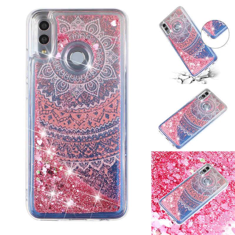 Bling do Caso Areia Movediça Para Huawei P 2019 Inteligente Líquido Glitter menina de Volta Caso capa Para O Huawei Honra 10 Telefone Lite casos