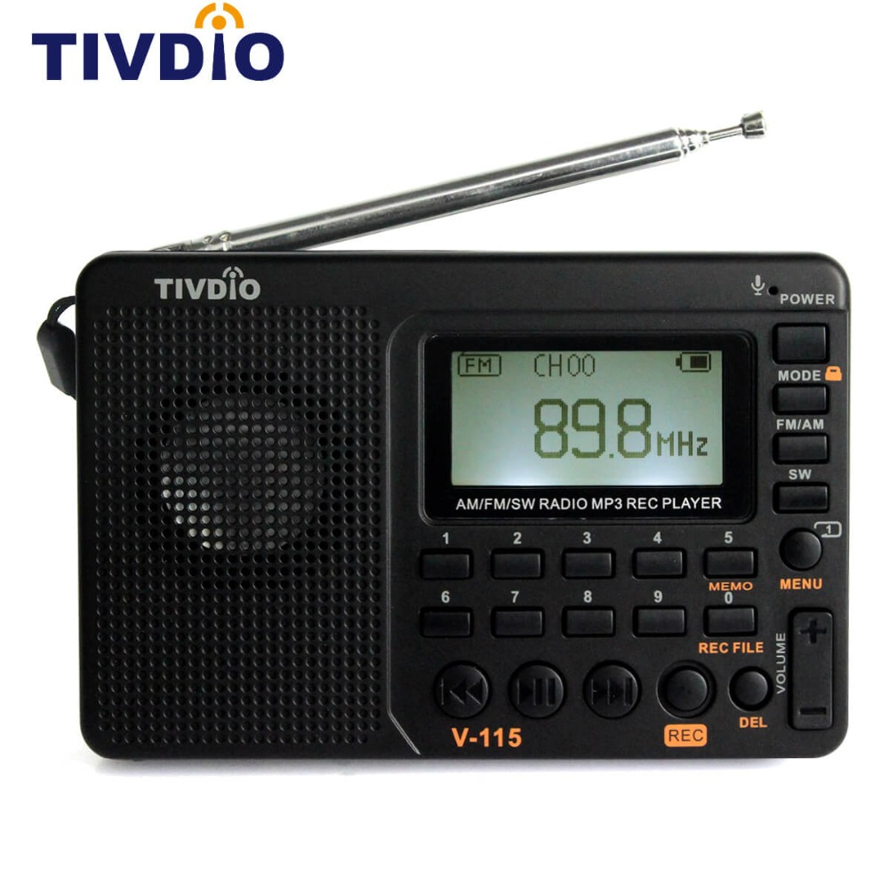 TIVDIO V-115 FM/AM/SW Radio Receiver USB Interface Charge MP3/WMA Music Player Portable Support Micro SD/TF Card nogo r808 portable 1 2 lcd fm am radio mp3 player w micro usb 3 5mm tf white blue
