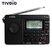Tivdio V-115 FM/AM/SW Радио приемник USB Интерфейс зарядки MP3/WMA плеера Портативный Поддержка Micro SD/TF