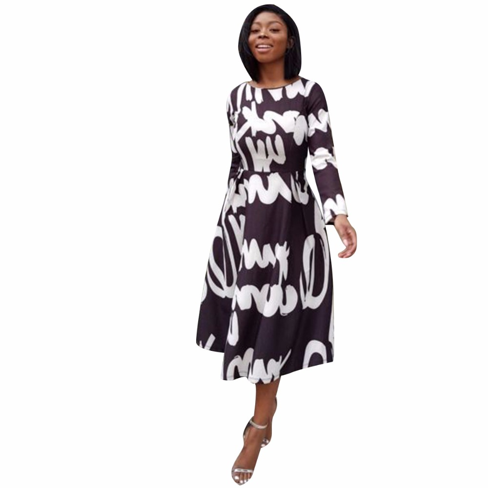 Black White Printed Dress 2018 New Fashion Women Spring Full Sleeve Casual Elegant Prom Long Dresses