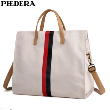 PHEDERA New Fashion Women Handbags Striped Canvas Female Totes Bag Large Beige Khaki Ladies Messenger Bags 2019 Spring
