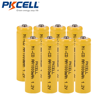 8Pcs/PKCELL NiCD 1.2V AA Rechargeable Battery 1000mAh 1.2 Volt 2A Batteria button top for industry package