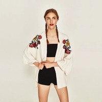 Elegant Ladies Loose Thin Knitted Maxi Cardigan Cape Coat Spring Summer Long Cardigan Lantern Sleeve Embroidery