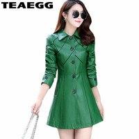 TEAEGG Green Faux Leather Jacket Women Coats Casual Womens Leather Jackets Plus Size Jacket Leather Woman Vest Cuir Femme AL25