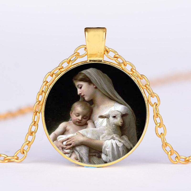 Virgin Mary Jesus Necklace Mother of Baby Portrait Glass Cabochon Silver Gold Color Long Chain Pendant Catholic Jewelry