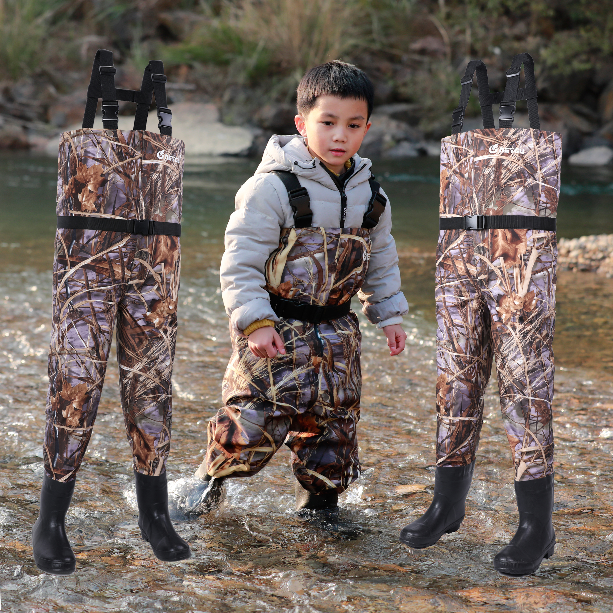 NeyGu kids breathable wading pants child fishing chest waders with anti Slip Sole Boots toddler waterproof