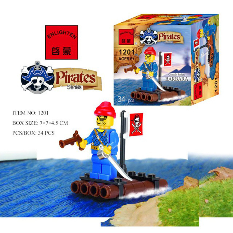 1201 34pcs Pirate Constructor Model Kit Blocks Compatible LEGO Bricks Toys For Boys Girls Children Modeling