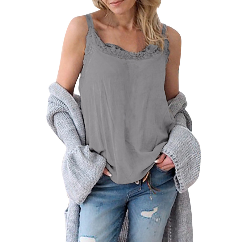 Exquisite Women Sleeveless Casual Summer Sling Lace Splice Loose Soild Top Vest Summer Top For Women Harajuku #35