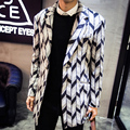 2015 nuevo invierno Hombres gabardina Gabardina paño de lana Hombres prendas de Vestir Exteriores Ocasional caot Chaqueta de Los Hombres Rompevientos Hombres Gabardina