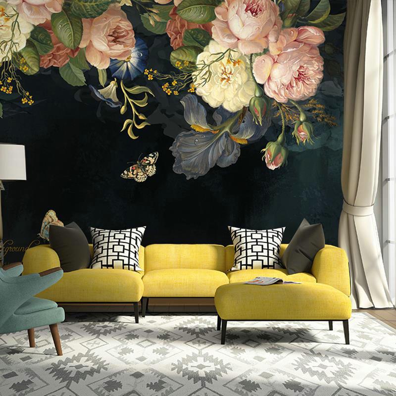 Custom 3D Wallpaper Silk Cloth Waterproof Canvas Murals Wall Painting Pastoral Floral Flower Oil Painting Black Mural Wallpaper 5