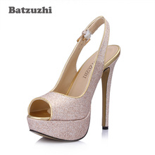 Batzuzhi Super Sexy 14cm Platform Women Shoes Bling Glitter High Heel Shoes Pump Peep Toe Buckle Strap Wedding and Party Shoes carpaton autumn and winter new ladies rose red shallow buckle round toe super high heel shoes wedding shoes rose bridal shoes