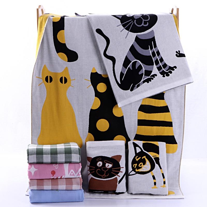 Cat Cotton Gauze Bath Beach Towel Adults Crane Swan Large Camping Shower Bathroom Children Blanket