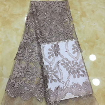 African Lace Fabric 2019 High Quality French Mesh Lace Fabric with sequins Nigerian Swiss Lace Fabrics For wedding Dress x82-71