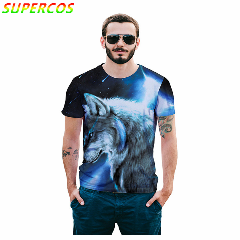 Free Shipping! Newest Good Quality Summer Cool Comfortable Short Sleeve T-shirt With Meteor Shower Artistic 3D Wolf Head Print