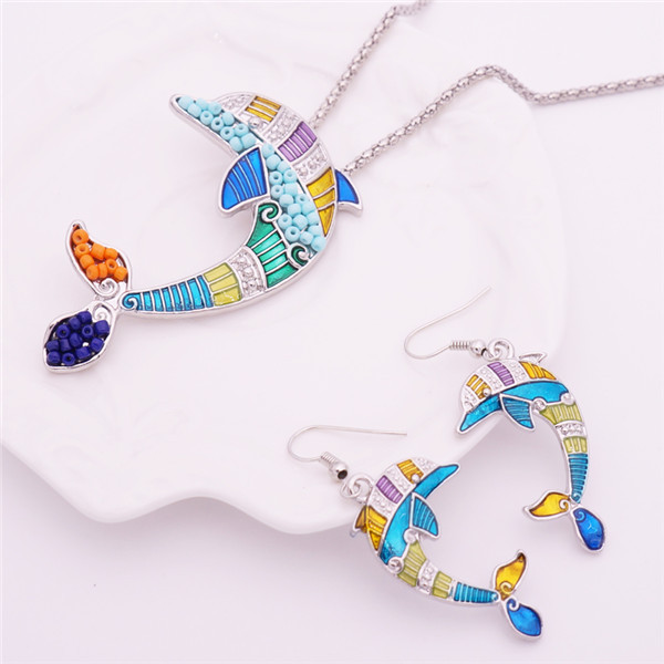 Women's Enamel Dolphin Necklace and Earrings Set 4