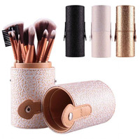 Hot 12 teile/satz Make-Up Pinsel Kosmetik-set Lidschatten Rouge Werkzeuge Mit Leder Cup-halter-kasten brochas pinceis maquiagem 7,21