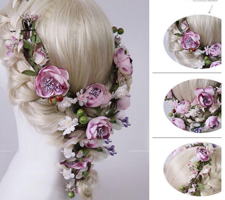 Bride garland hair band handmade cane flowers holiday hair jewelry wholesale