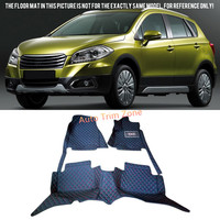 Interior Black Leather Floor Mats Carpets For Suzuki S Cross 2014 2015 2016
