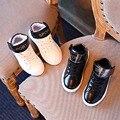 Moda Menino Sapatos Casuais PU LeatherLetter Partten Lace-UP + Hook-Loop Anti-Escorregadio Menino Viagem Calçados Esportivos confortáveis