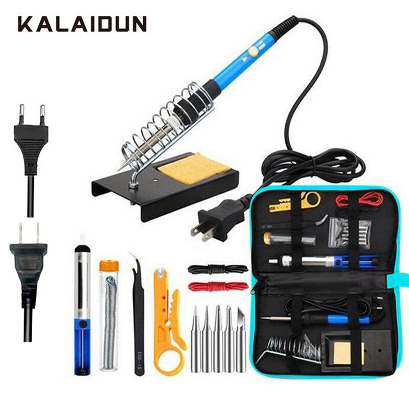 KALAIDUN Elektrische Lötkolben kit 15 in 1 Einstellbare Temperatur Schweißen Werkzeug 60 W Pinzette solder Reparatur Werkzeuge Lagerung Tasche