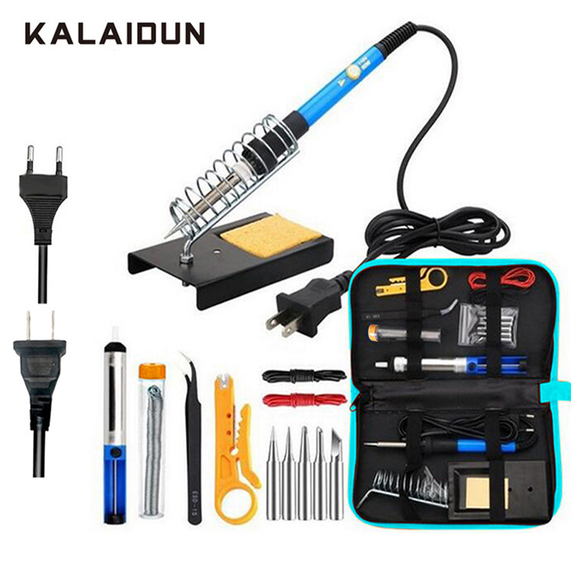 KALAIDUN hierro de soldar eléctrico kit 15 en 1 temperatura ajustable herramienta de soldadura 60 W pinzas de soldadura herramientas de reparación de bolsa de almacenamiento