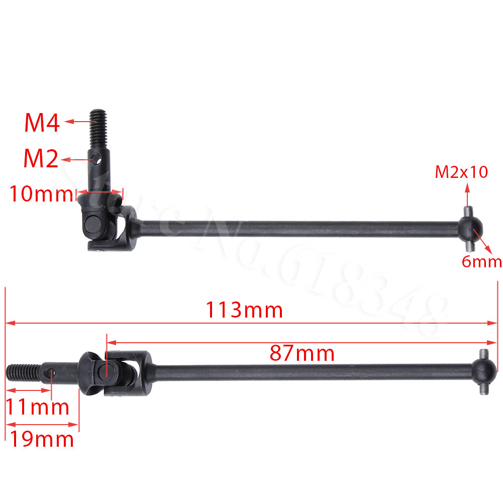 2pcs/lot Steel HSP 108015 Universal Drive Shaft Joint Set 08046 1/10th Upgrade Parts For RC 4WD Off Road Monster Truck 94108