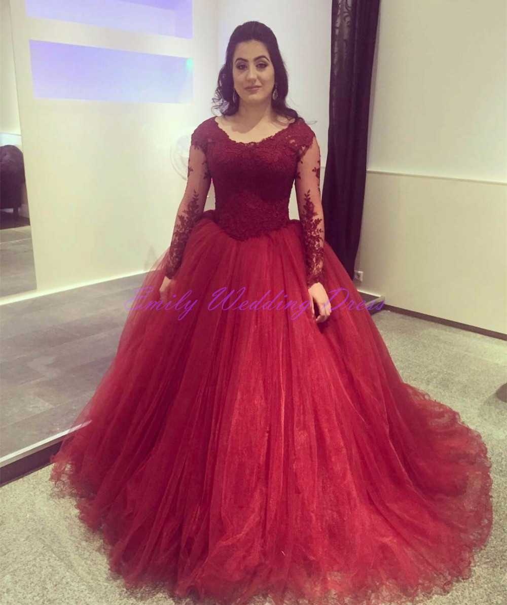 Burgundy wedding dresses princess wine red mariage long for Red wedding dresses with sleeves