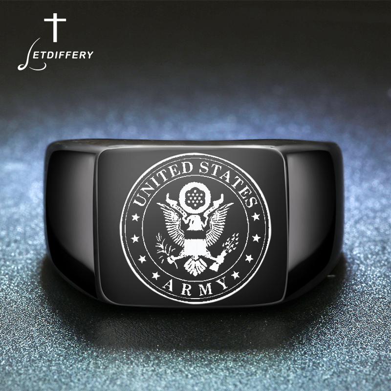 Letdiffery Men US Army Military Veteran Ring Custom Engrave Photo Singet Ring For Boy friend Gift titanium ring