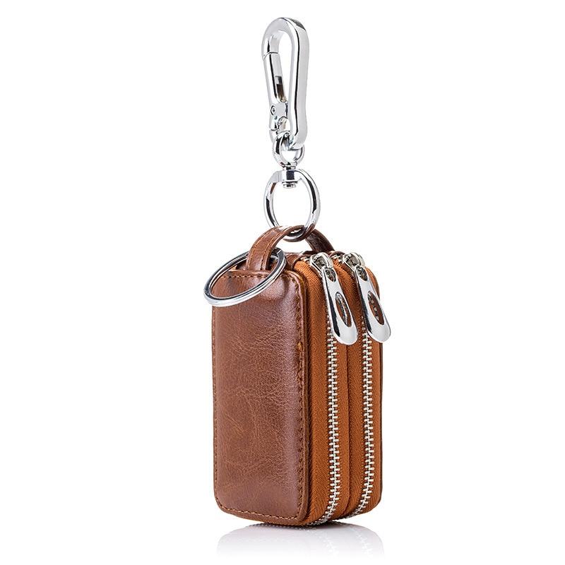 New Arrival Genuine Leather Men Car Key Holders Housekeeper Multifunctional Double Zipper Square Home Key Case Women Key Wallet
